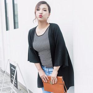 2018秋季新款蝙蝠袖针织开衫女 大码针织毛衫韩版时尚女装<span class=H>外套</span>潮