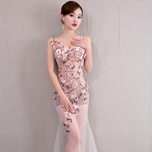 夜店性感女装低胸透视装礼服女显瘦鱼尾网纱裙车模夜场长款晚礼服