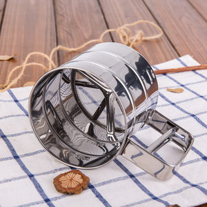 不锈钢手动杯式<span class=H>面粉筛</span> 手持式粉筛杯 糖粉筛 筛网烘焙工具