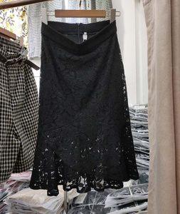 蕾丝<span class=H>包臀裙</span>女夏季高腰鱼尾裙2019新款韩版显瘦半身裙镂空绣花包裙