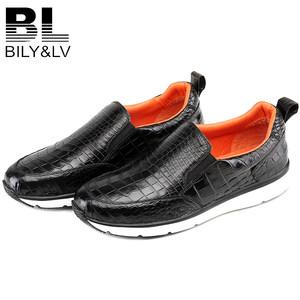 Bily&lv正品真皮鳄鱼皮男鞋低帮男士皮鞋男商务休闲手工<span class=H>鞋子</span>男款