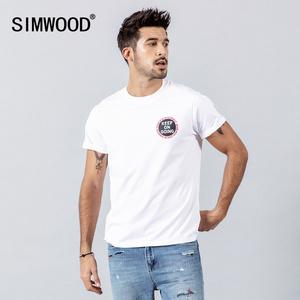 Simwood简木<span class=H>男装</span>夏季新款个性时尚潮流背后字母印花圆领短袖t恤男
