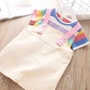 夏装童裙女宝彩虹T恤+<span class=H>背带裙</span>两件套0-5岁中小童3女孩洋气休闲套裙