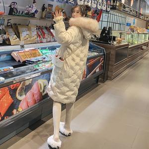 东大门过膝棉服女2018新款雪花刺绣中长款棉袄大毛领羽绒棉衣外套