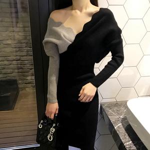 针织连衣裙秋冬装2018新款女装修身性感v领长袖中长款打底毛衣裙
