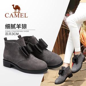 骆驼<span class=H>女鞋</span> 秋冬季复古甜美加绒短靴 蝴蝶结磨砂真皮女靴低跟靴子女