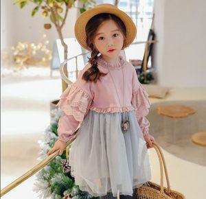 韩版童装女童裙子春秋款新品蕾丝时尚长袖裙公主裙<span class=H>连衣裙</span>专柜品质