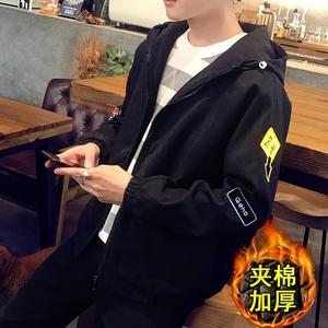 冬季男士bf风青年加厚外套韩版学生夹克宽松春秋装外衣服英伦潮流