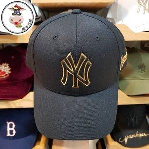 【大牛韩代】MLB正品洋基队男女款<span class=H>棒球帽</span>黑色金边休闲简约可调节