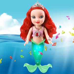 美人鱼玩具公主<span class=H>洋娃娃</span>音乐发光套装大号美芙芭比儿童女孩新年礼物