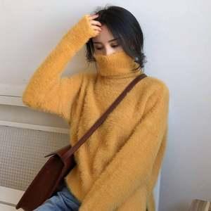 冬季新款复古高领宽松加厚<span class=H>毛衣</span>慵懒风毛绒套头纯色长袖针织上衣女