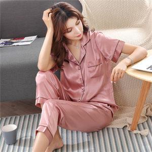 睡衣女士夏季性感桑蚕丝绸短袖两件套装薄韩版家居服真丝