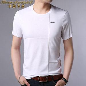 中青年男士短袖T恤宽松全棉纯色<span class=H>男装</span>休闲小V领体血��针织打底衫潮