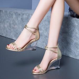 露趾时装凉鞋女真皮镂空后拉链细带组合坡跟女士凉鞋镂空高跟<span class=H>女鞋</span>