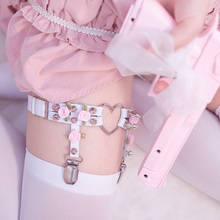 Japanese Lolita Loving Hosiery Ring Anti-skid Hosiery Belt JK Crus Hosiery Button Hosiery Leg Ring Woman Lovely Rose Leg Belt