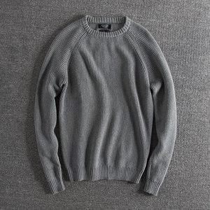秋冬新品欧美复古纯色粗线针织潮款男士圆领针织衫<span class=H>毛衣</span>