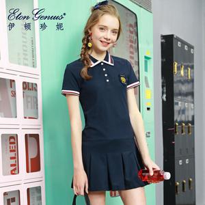 伊顿珍妮 学院风运动网球裙POLO领短裙甜美T恤裙学生短袖<span class=H>连衣裙</span>子