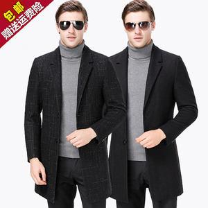秋冬季品牌羊绒<span class=H>大衣</span>男士韩版中年羊毛呢子外套中长款修身职业西服