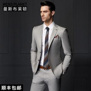 曼斯布莱顿男装西服套装男士商务正装修身羊毛灰色西装745005