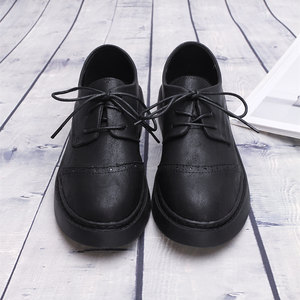 Fashion囡 春秋复古英伦雕花单鞋女厚底马丁鞋系带学生平底小<span class=H>皮鞋</span>