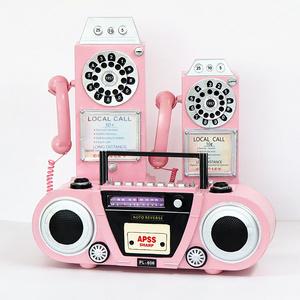 粉色电话机收音机模型<span class=H>摆件</span>网红店装饰店面服橱窗展示美国Crosley