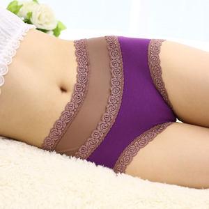 女士<span class=H>内裤</span>中腰竹碳舒适性感蕾丝边薄款透气高腰收腹大码三角短裤头