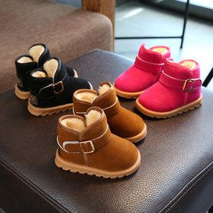 儿童雪地靴<span class=H>男</span>童1-2-3岁冬季女童<span class=H>短靴</span>子加绒女宝宝棉鞋子<span class=H>小童</span>保暖5