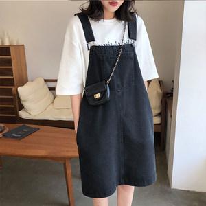 A7seven背带牛仔连衣裙女2019春季新款韩版宽松显瘦学生打底裙子