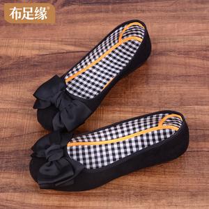 老北京布鞋女单鞋豆豆鞋时尚蝴蝶结圆头新款平底黑色软底工作鞋
