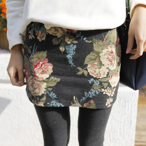 秋冬加绒包臀打底<span class=H>裤裙</span>假两件纯棉印花女加大码保暖外穿长裤小脚裤