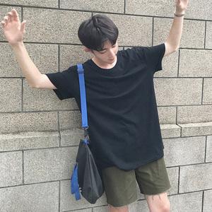 日系新款夏季男士简约纯色<span class=H>T恤</span>休闲修身短袖圆领韩版半袖体恤潮流