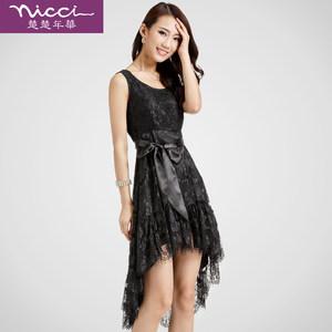 断码清仓 连衣裙黑色圆领无袖<span class=H>背心裙</span>镂空花朵中长款蕾丝连衣裙