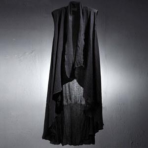 夏季男士无袖<span class=H>马甲</span> 原创走秀中长款亚麻料个性超薄开衫 发型师披风