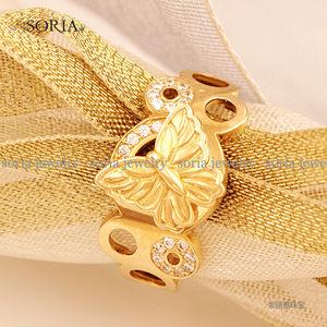 索丽雅韩国正品纯14K金黄金白金玫瑰金空谷幽兰戒指指环女款