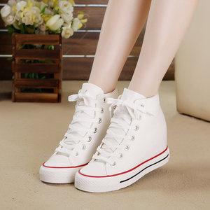 内增高<span class=H>帆布鞋</span>女鞋高帮鞋春秋季韩版女士百搭学生休闲基本款小白鞋