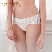 Yiqian lace underwear super-thin white hot sexy hollow pure cotton crotch seamless mid-waist triangles