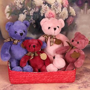 包邮领结彩色绿色粉色紫色红色泰迪熊小熊公仔玩偶毛绒玩具礼品