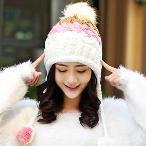 冬天帽子女 韩国学生保暖针织帽 秋冬季韩版加绒加厚护耳毛线帽潮