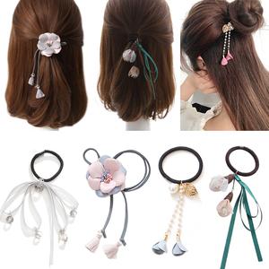 韩国可爱发圈发饰头绳橡皮筋皮套扎头绳扎头发<span class=H>饰品</span>长飘带发绳头饰