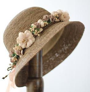 特细出游拉菲草帽子女士夏季韩版大檐沙滩帽防紫外线遮阳帽可折叠