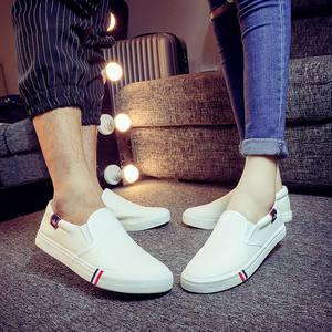 全白色不系带帆布鞋男医生护士懒人鞋男款帆布假鞋带一脚蹬板鞋子