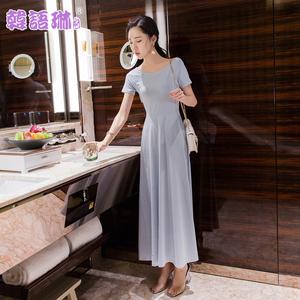 韩语琳空间2018夏季女装性感露背长裙高腰显瘦针织大摆短袖连衣裙