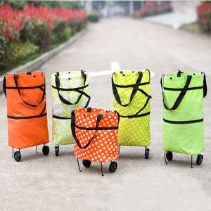 多功能超市<span class=H>购物车</span>手提购物袋大号拖轮包可折叠便携式小拉车买菜车