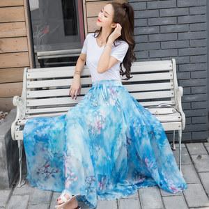 夏季新款波西米亚雪纺碎花长裙印花<span class=H>半身裙</span>女中长款大摆裙沙滩裙子