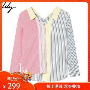 Lily2018秋新款女装不对称细条纹拼接单排扣宽松<span class=H>衬衫</span>118330C4647
