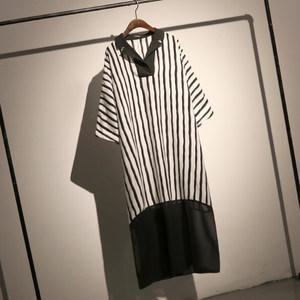 哦呀苏米 欧美翻领拼色条纹衬衣女长款宽松大码蝙蝠袖套头<span class=H>衬衫</span>裙