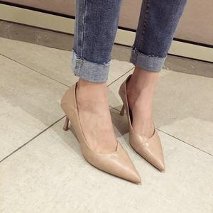 歐美純色<span class=H>素面</span>光板尖頭淺口細跟顯瘦兩穿<span class=H>高跟</span>鞋<span class=H>單鞋</span>女2018新款工鞋