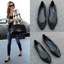 Super soft cowhide pointed flat sole single shoe female black soft sole shallow flat heel leather comfortable boat shoes large size work shoes