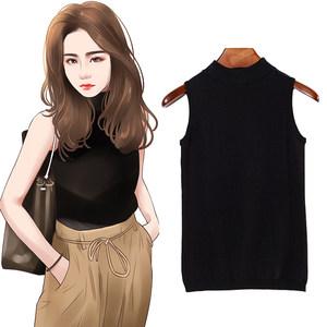 黑色针织<span class=H>背心</span>女夏外穿修身显瘦内搭打底衫半高领紧身上衣无袖t恤