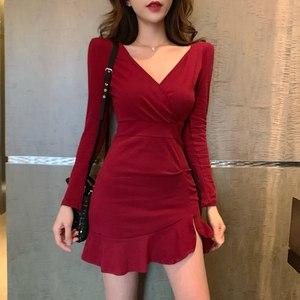 时尚新款女装气质修身纯色鱼尾裙短裙性感V领包臀打底裙连衣裙潮